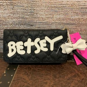 Betsey Johnson Black Quilted Wristlet Wallet
